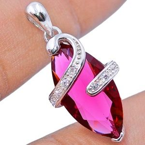 Jewelry - 3CT Ruby and White Topaz 925 Silver Pendant
